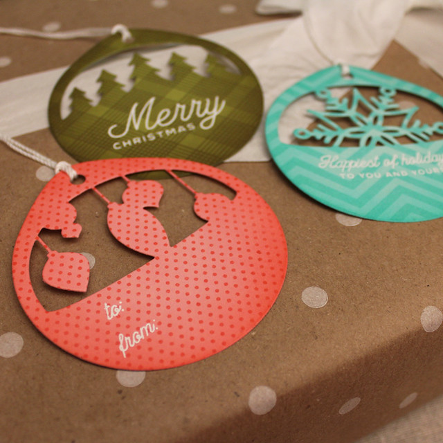 Patterned Christmas Cuts Tags Close Up 1