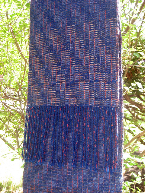 First River by the Sea Scarf crackle weave with handspun yarn