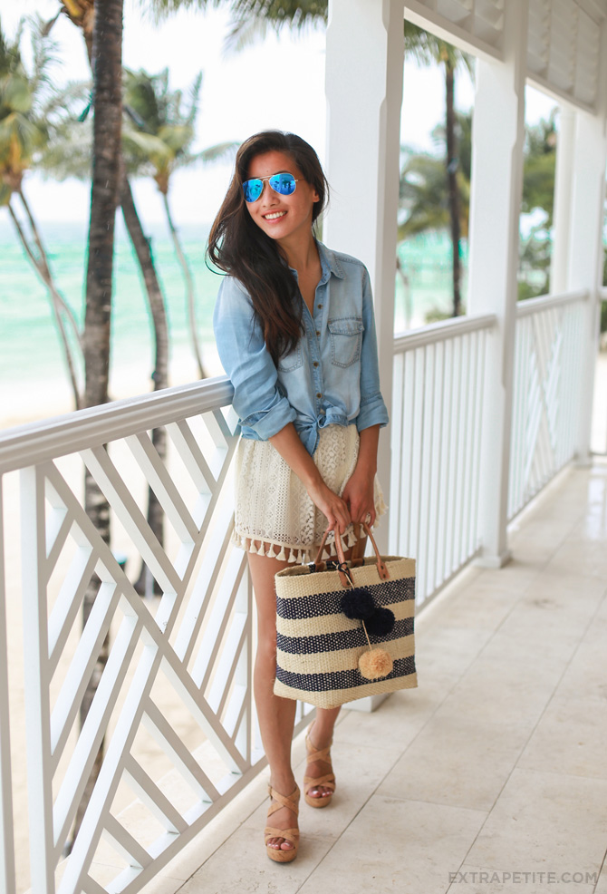 chambray shirt crochet shorts beach outfit4