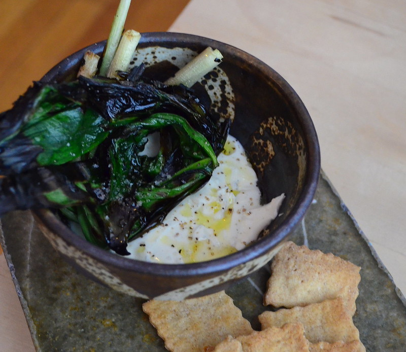 Whipped Feta with Grilled Ramps
