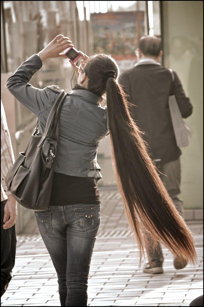 Long Hair Ponytail This Woman Was Walking In Tsim Sha