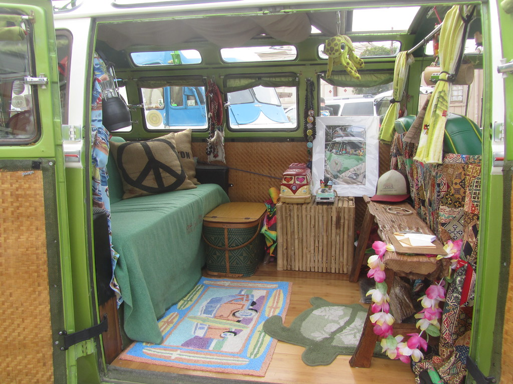 Vw bus green white interior mr38 flickr for Bus interior designs