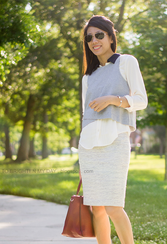 gray cropped top, white blouse, light blue tweed skirt, red purple tote