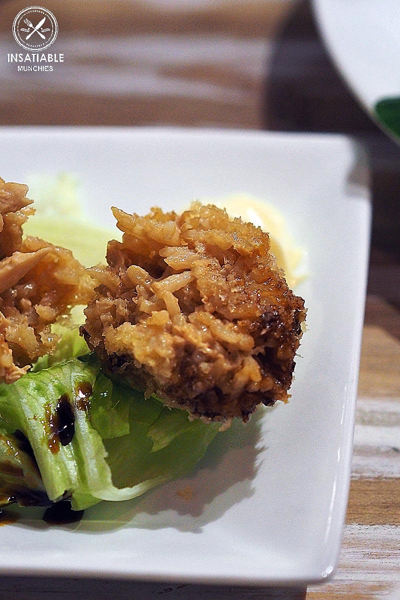 Deep fried chicken rice balls