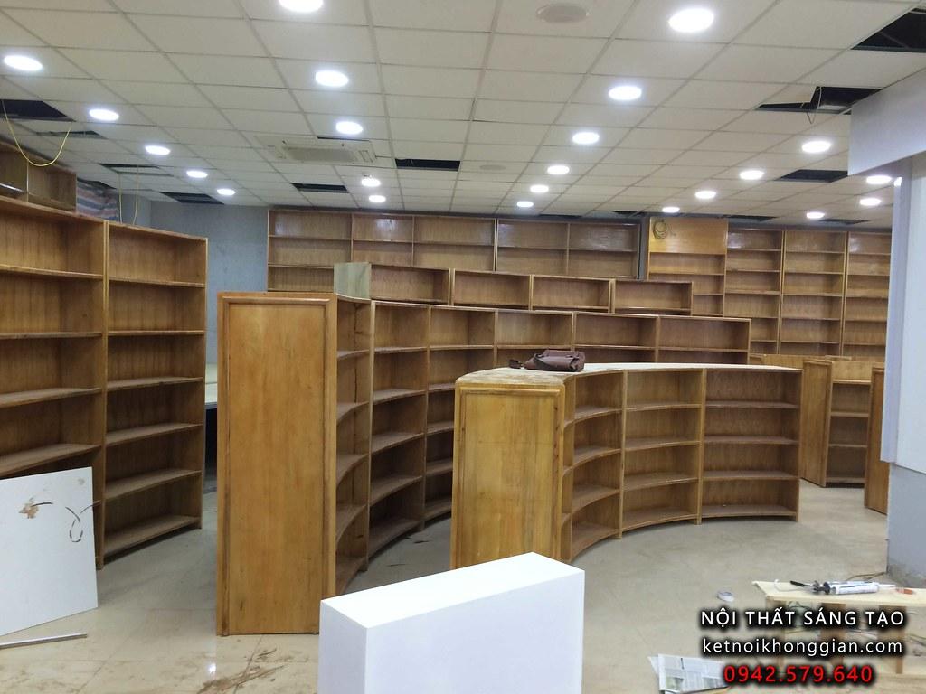 thiết kế và thi công nội thất nhà sách Tràng An