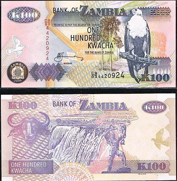 100 Kwacha Zambie 1992-2008, Pick 38