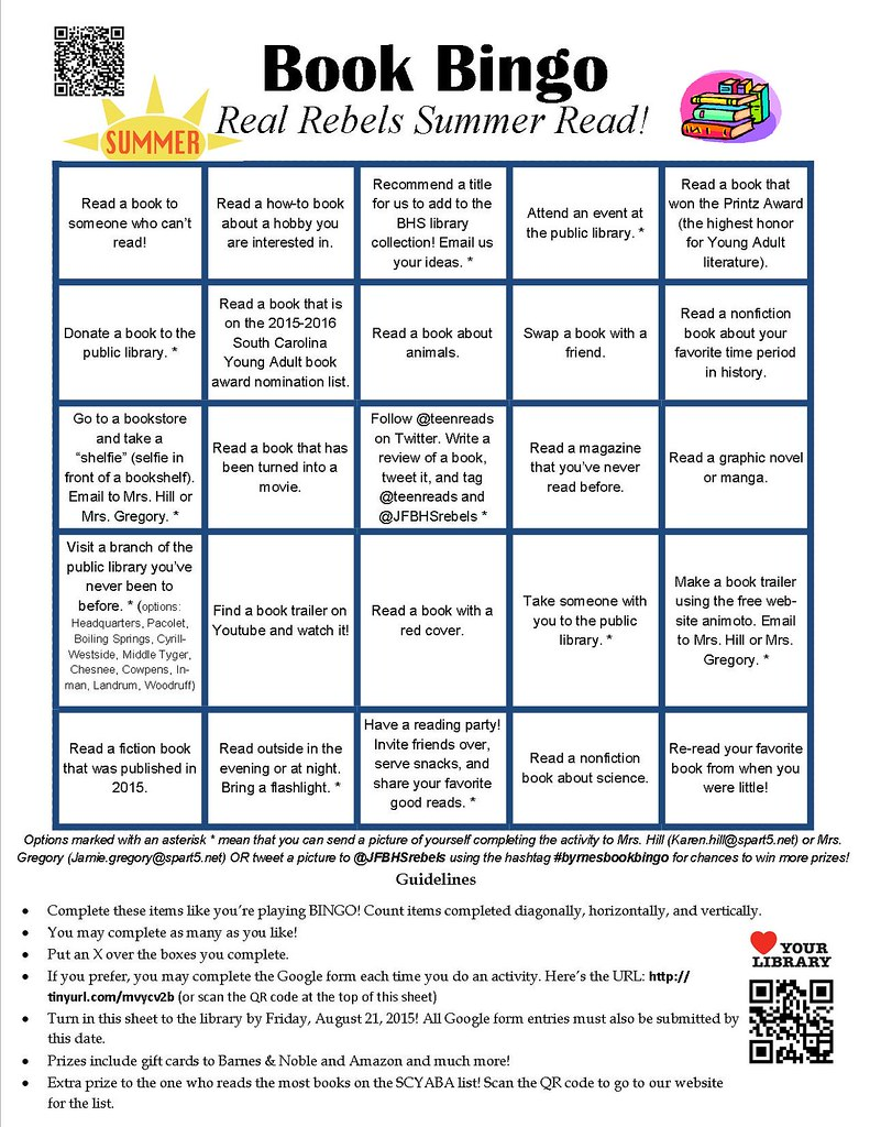 byrnes high school 2015 summer reading bingo