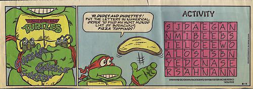 TEENAGE MUTANT NINJA TURTLES { newspaper strip } ..Mikey's Stomach ; ..art by Lawson - isolated :: 08111991