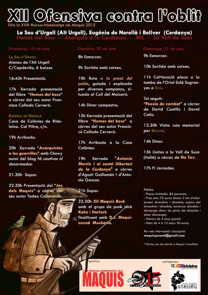 XVIII Marxa-homenayge del maquis, a l´Alt Urgell i la Cerdanya, del 19 al 21 de juny 2015