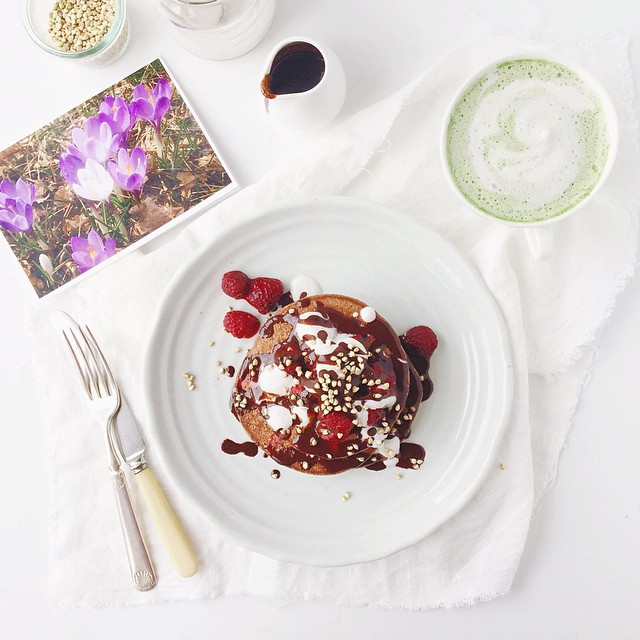 Inappropriately large stack of made-up recipe chocolate pancakes, a gorgeous almond milk matcha latte and a card from my mum with a photo of the spring flowers in her yard. Because birthday.  I'd say it's a good thing I did a core power yoga class this mo