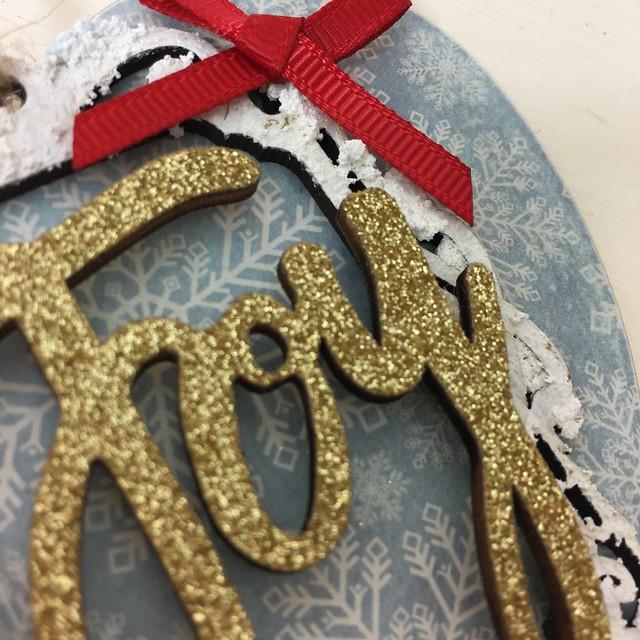 Handmade Christmas Decoration – Decoupaged Heart by StickerKitten. Step 8: Add glittery joy and bow