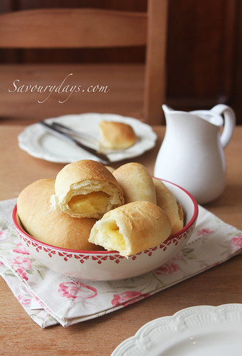 Milk buns with custard fillings | by Savoury Days