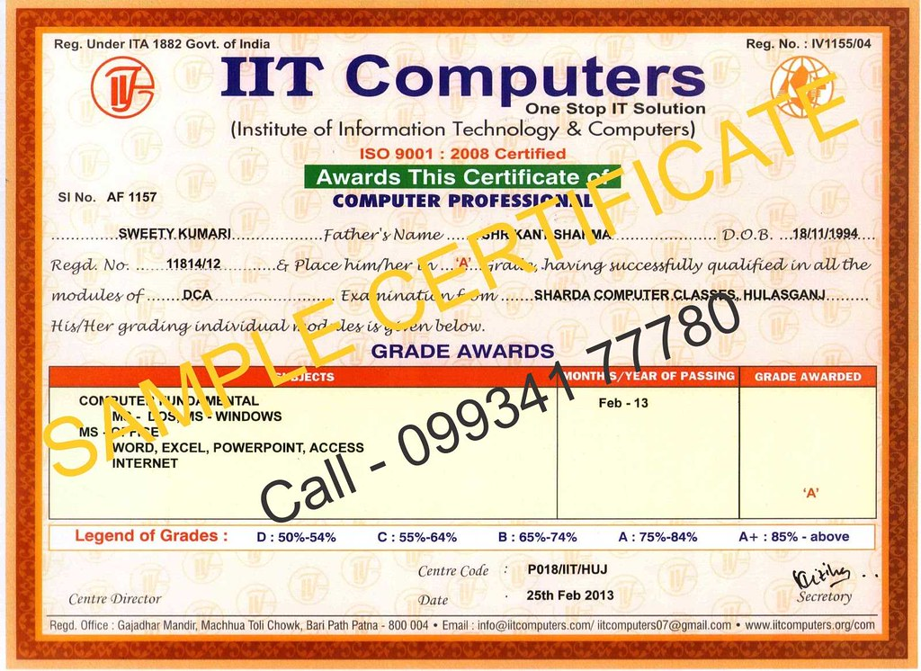 Computer course certificate format asafonec computer course certificate format yadclub Image collections