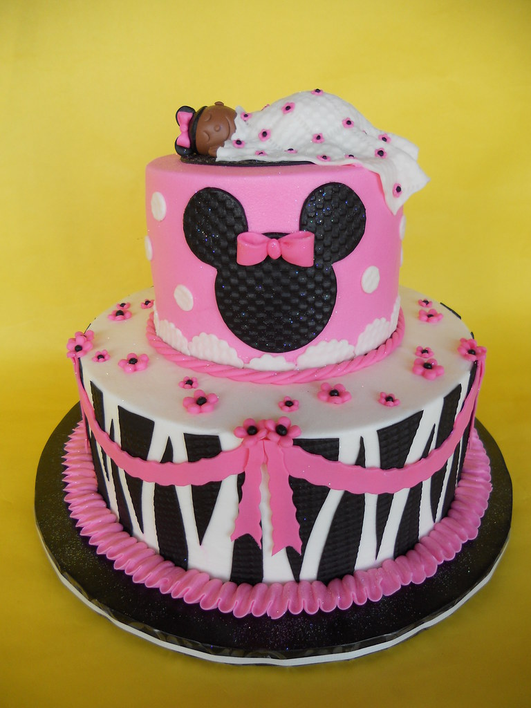 zebra print minnie mouse baby shower cake amy stella flickr
