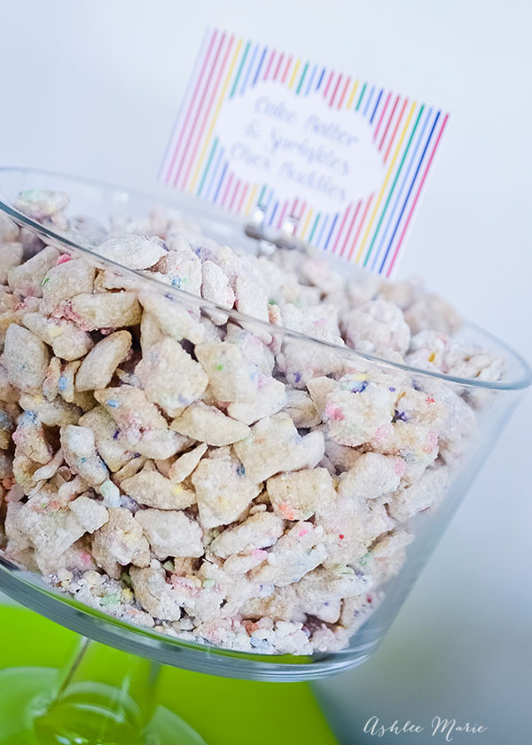 cake mix and sprinkle muddy buddies are easy to make, pretty and delicious