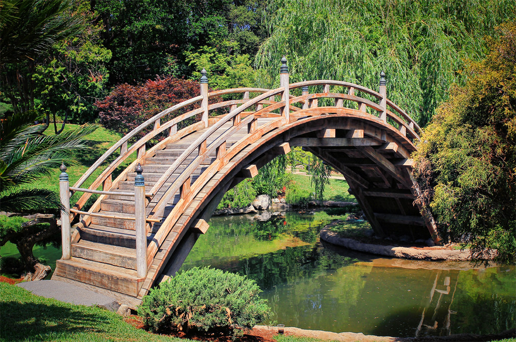 Japanese garden bridge the japanese garden bridge at the for Fish pond bridges