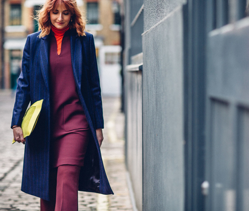 Bold jewel colours Autumn look fall outfit smart winter wear layering Jaeger Longline pinstripe coat, red roll neck, burgundy cocoon dress and cropped flares, yeloo suede clutch | Not Dressed As Lamb, over 40 style