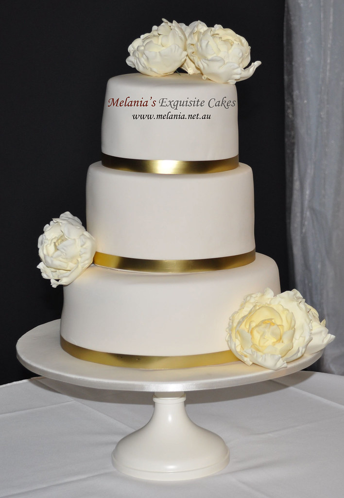 wedding cake with gold ribbon wedding cake with peonies and gold ribbon melania s 26902