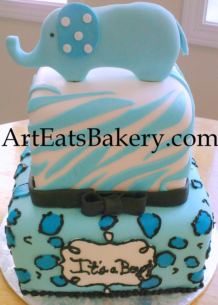 Blue White And Black Animal Print Boy Baby Shower Cake Wi