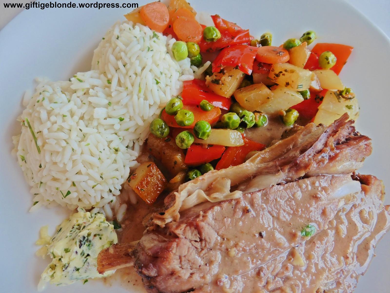 Beinfleisch vom Bio Jungrind, Gemüse, Kräuterreis, Kräuterbutter
