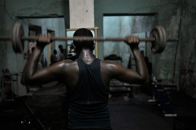 A Somali man lifts weights at a gym in the Hamar Weyne district of Mogadishu on August 12.