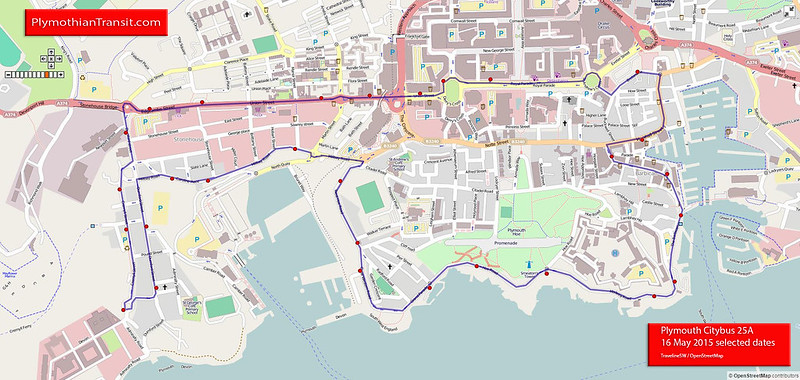 25A Plymouth City Centre - Barbican - Hoe - Royal William Yard - Plymouth City Centre