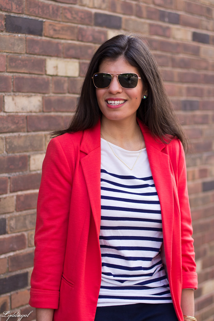 red blazer, striped shirt, navy trousers, white bag-7.jpg