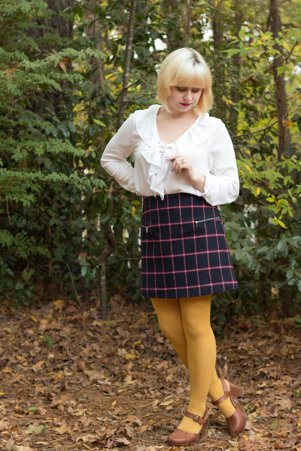 Petite Outfit Plaid Mini Skirt Yellow Tights Lace Up Ruffled Collar Shirt Tawny Brown Clogs