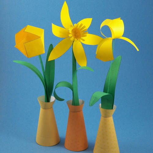 Paper Flowers in simple paper vase : Spring Flower Bouquet c ...