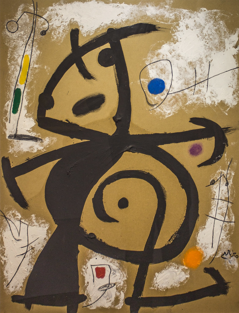 Painting By Joan Mir 243 Femme Oiseaux 1978 Oil And Penci
