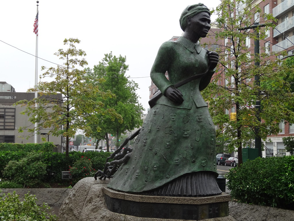 Harriet Tubman slave statue in Harlem. Tubman was one of t ...
