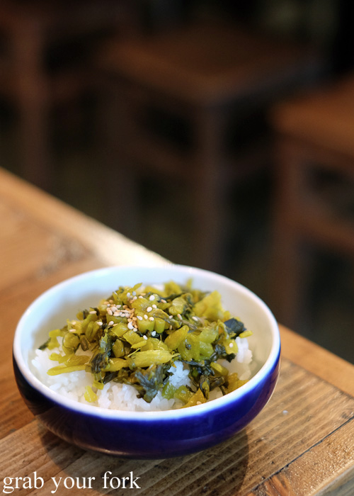 Steamed rice with pickled mustard greens at Chaco Bar, Darlinghurst