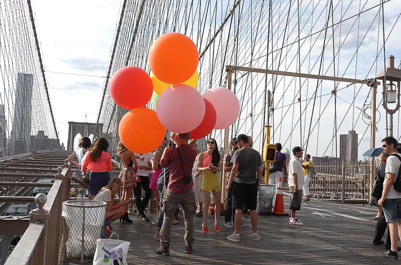 Balloons on the Brooklyn Bridge