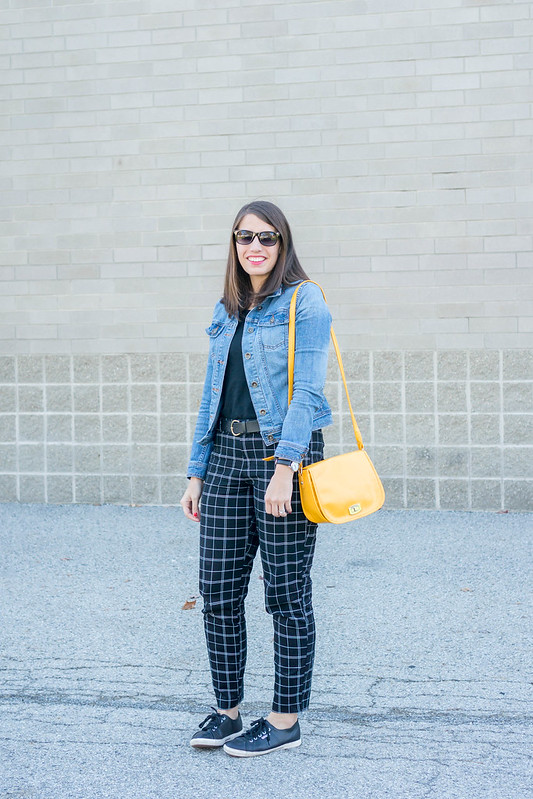 black tee + black grid print pants Old Navy + denim jacket + yellow purse + superga sneakers | Style On Target blog
