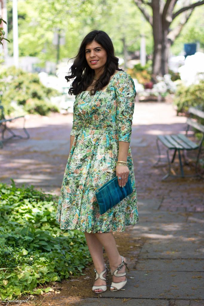 vintage floral dress, turquoise snake skin clutch-2.jpg