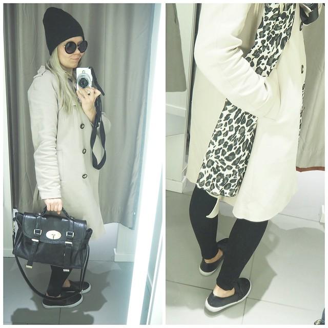 asuh&m4, h&masu8, asu, ootd, outfit, outfit of the day, päivän asu, suosittu asu, suosituin asu, viime päivät, h&m, hennes and mauritz, beige, musta, black, shades, colors, homies, t-paita, t-shirt, bag, mulberry, laukku, asusteet, accessories, vaatteet, clothing, takki, coat, beige takki, pitkä takki, trenssitakki, trench coat, kanvaasikengät, kengät, shoes, canvas shoes, leopardi huivi, scarf, leopard,