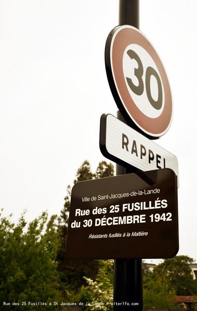 Rue des 25 Fusillés du 30 Décembre 1942 à saint jacques de la lande