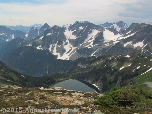 Doubtful Lake and so many mountains from higher on Sahale Arm, North Cascades National Park, Washington