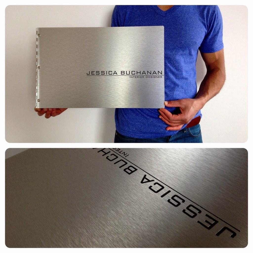 Custom interior design portfolio book with engraving treat for Books about interior design