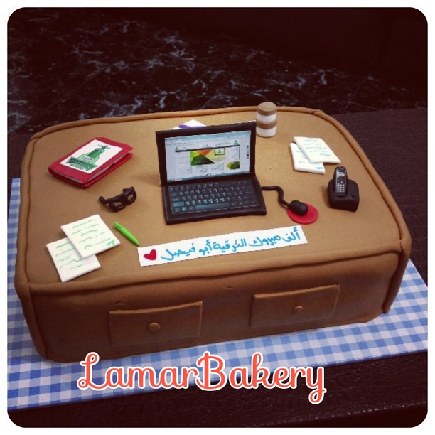 Cake Decorating Ideas For New Job : #congratulations #desk #cake #lamarbakery #jeddah #newjob ...