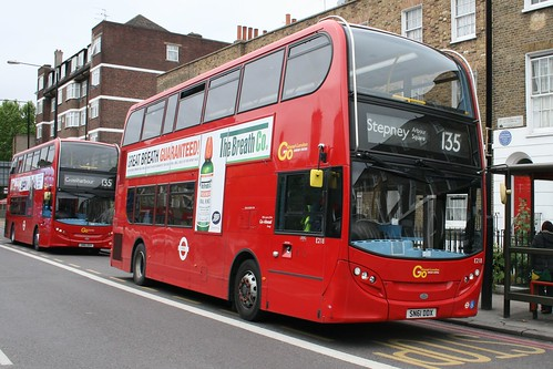 Docklands Buses E218 & E217 on Route 135, Stepney Arbour Square