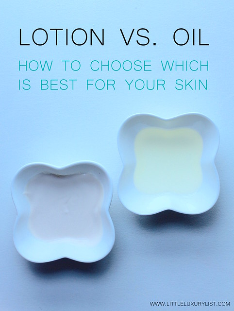 lotion vs. oil top down view by little luxury list