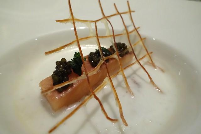 Rainbow Trout, Bacon Dashi & Potato Foam by Chef Markus Dybwad, Restaurant Ember x Snorre Food