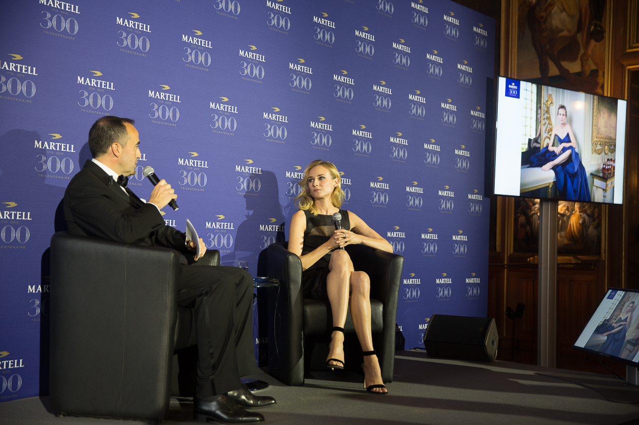 Martell CEO Philippe Guettat speaks to Martell Ambassador, the actress Diane Kruger