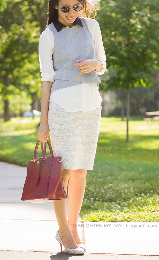 gray cropped top, white blouse, light blue tweed skirt, red purple tote, white snakeskin pumps