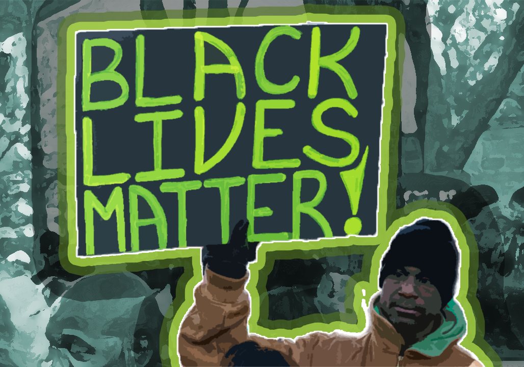 An illustration of a Black man holding a sign that reads
