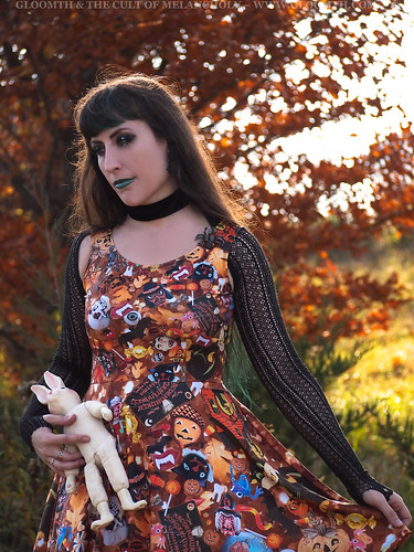retro halloween print fabric dress
