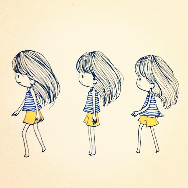 Circle walk #girl #mood #emotion #emoji #character #cartoo ...  Girl Cartoon Characters To Draw