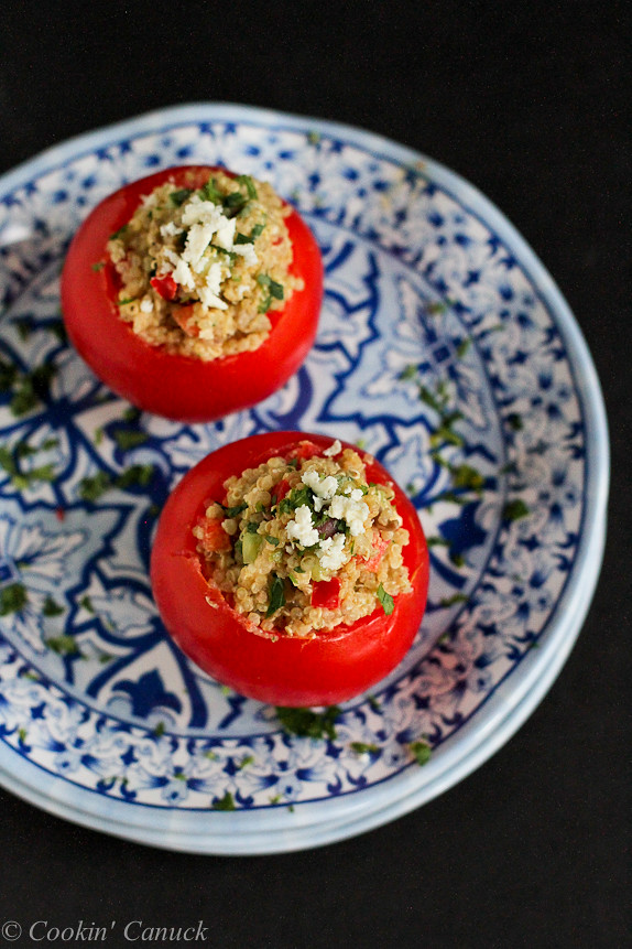 Greek Quinoa and Hummus Stuffed Tomatoes...213 calories and 5 Weight Watchers PP | cookincanuck.com #recipe #healthy