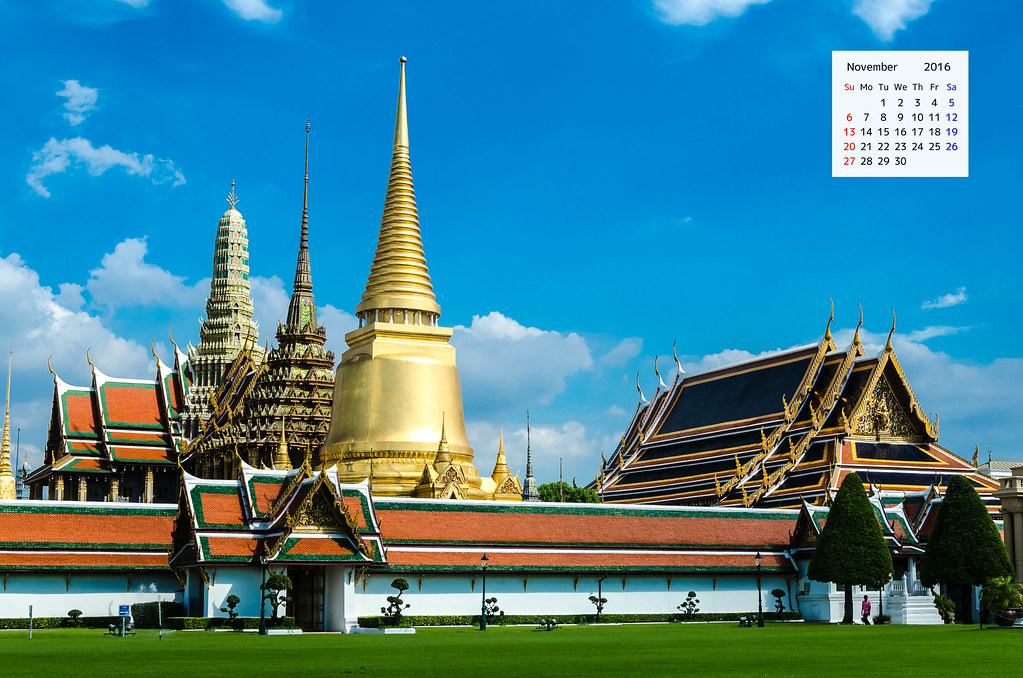 Grand Palace Bangkok on the November 2016 desktop Calendar